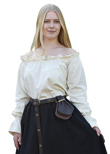 Battle-Merchant Middeleeuwse carmenblouse van katoen dames - natuur, zwart, wit S-XXL lange mouwen schoudervrij carmen blouse