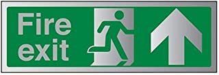 VSafety Fire Exit-Fire Exit Arrow Up Sign - 450mm x 150mm - 3mm Brushed Alu Comp