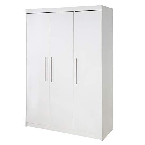 roba Kleiderschrank 'Maren', Schrank Babyzimmer, 3 Türen, 2 Kleiderstangen; Kinderzimmer Schrank, weiß