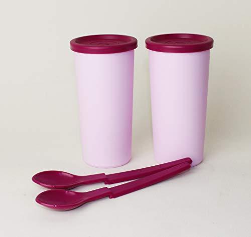 TUPPERWARE 2 Joghurtbecher und 2 Hängelöffel für Joghurtbereiter/Siebservierer + 80ml Becher Rosa