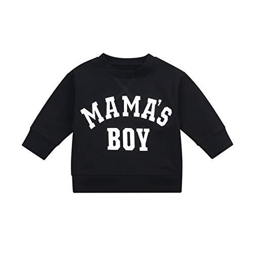 ChouZZ Suéter suelto para bebé, manga larga, cuello redondo, para otoño, principios de invierno, Mama's Boy - Negro, 24 meses