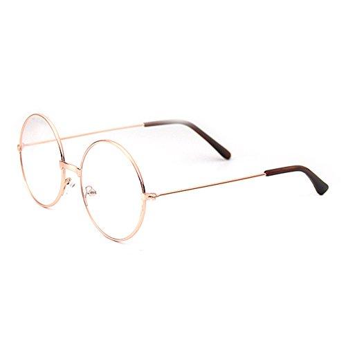 Junkai junkai Mädchen Junge Brillen - Rund Retro Stil Brille Metall Brillenfassung Transparente Linsen Lesen Gläser für Baby Kinder Unisex