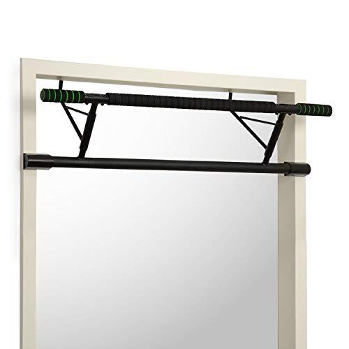 Klarfit In-Door - Klimmzugstange, Türrahmen-Klimmzugstange, Türrahmenaufhängung, weiter/enger Griff, platzsparend, montagefrei, pulverbeschichtetes Stahl, max. 130 kg, inkl. EVA-Pads, schwarz
