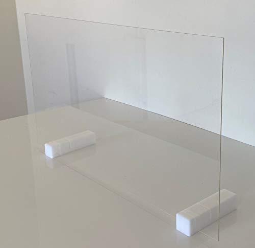 B&T Metall Schutzscheibe V6 aus Acrylglas 3 mm stark mit 2 massiven Füßen aus Kunststoff Breite 100 cm Höhe 60 cm