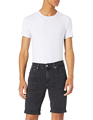 Calvin Klein Jeans Slim Pantalones Cortos, Denim Negro, 29W Short para Hombre