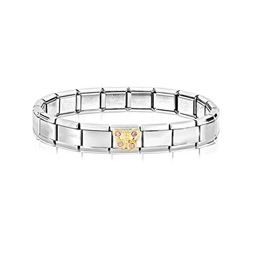 AKKi jewelry Italian Charms Armband mit Schmetterling Links Glieder Set Kult modele für Frauen Italy Charm - Edelstahl Schmuck Silber Modern Schmetterling