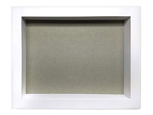 Marco de Fotos Original Tipo Caja, de Madera con Cristal, Cuadro Profundo para meter Objetos de colección: Objeto 3D, Pinzas con Fotos, Flores, medallas, etc. (Blanco, 25 x 20 x 5 cm)