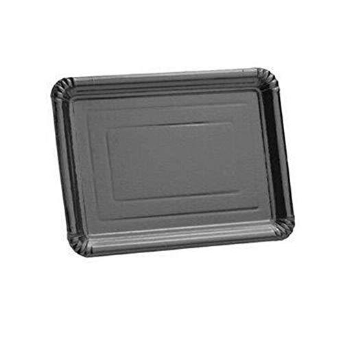 5 Plateaux carton argenté rectangulaire 24 x 33 cm - Taille Unique