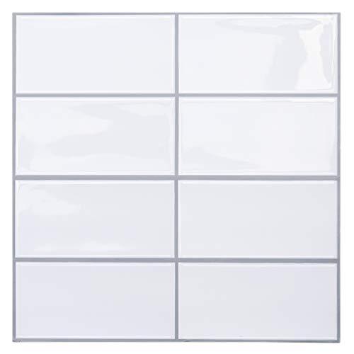 "Uoisaiko Peel and Stick Tile for Kitchen Backsplash 12"" x 12"" White, Stick on Tiles Subway Wall Tile Stickers 4 Sheets"