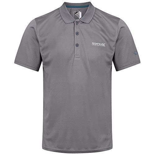 Regatta Maverick Iv Herren-Poloshirt, schnelltrocknend, Knopfleiste, langärmelig 3XL Rock Grey