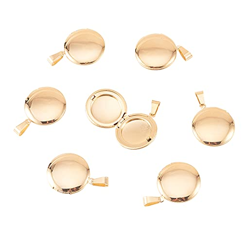 Airssory 10 colgantes de acero inoxidable chapado en oro para marcos de fotos para mujeres y hombres, collares de joyería, manualidades, 23 x 21 mm