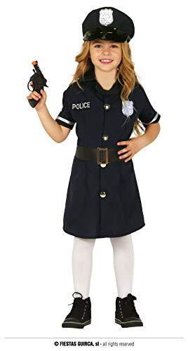 Guirca Costume Vestito Abito Travestimento Carnevale Bambina POLIZIOTTA, Police Woman (7/9 Anni)