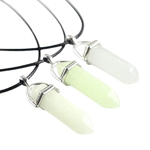 Colar de Cristal Pedra da Lua Luminoso - (Verde)