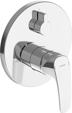 Hansa 85269183 kant-en-klare montageset/functionele eenhandsmengkraan | geluiddemper, rozet, draaibaar, handmatige omschakeling bad/douche | debiet: 21/21l/min