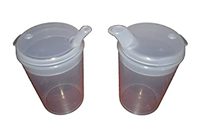 Plastic Feeding Cup with SPOUT Adult Feeder Beaker Hospital Mug Disability AIDS Pack of 2 Cups with Wide spouts.