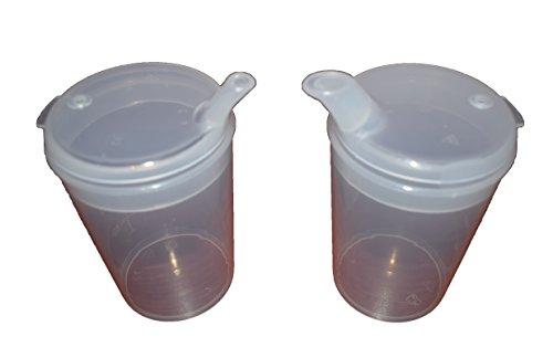 Vaso de plástico, taza de alimentación con boquilla, comedero para adultos, para hospital, taza para discapacitados, paquete de 2 vasos con boquillas anchas