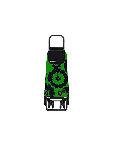 Rolser Carro Pack Flor 4 Ruedas 2 Giratorias Plegable - Verde/Negro