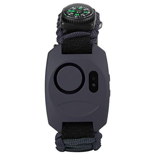 Alarme de poignet de sécurité personnelle 130db 8 in1 Outil de survie en plein air avec outil de survie en plein air, boussole, silex, thermomètre, sifflet, couteau, corde, alarme(Noir)