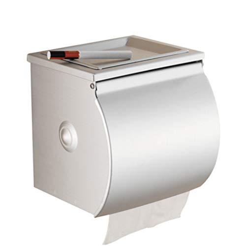 XMZFQ Toilettenpapierhalter Space Aluminum Waterproof Wandeinbau-Toilettenpapierhalter mit Deckel und abnehmbarem Regal