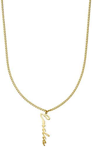 Namenskette I Kette mit Namen I Damen Halskette 925er Silber vergoldet I Erstellen Sie Ihr eigenes Set I Hochwertiger personalisierter Schmuck im zeitlosen und schlichtem Design I (Liberty Halskette)