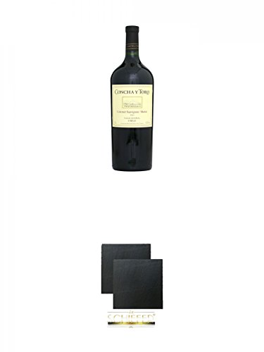 Concha y Toro Cabernet Sauvignon/Merlot Magnum aus Chile 1,5 Liter + Schiefer Glasuntersetzer eckig ca. 9,5 cm Ø 2 Stück