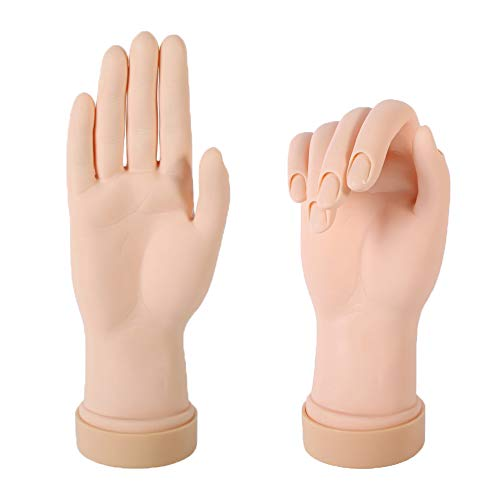 YASUOA 2 Pieces Nail Art Practice Hand, Fake Hand Model Trainer, Flexible Bendable Nail Art Training Tool, Plastic Mannequin for Manicure DIY Acrylic Nails