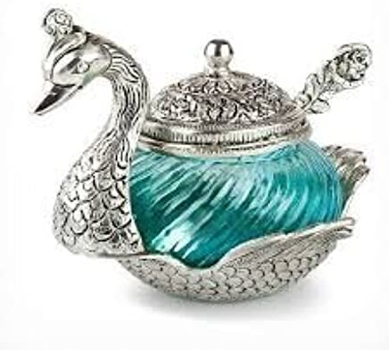 Saudeep India Trading Corporation White Metal Duck Shape Single Bowl With Tray Set, Red