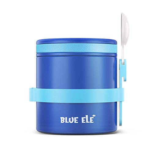 BLUE ELE Leakproof, Vacuum Insulated Thermos Hot Lunch Containers with Ceramic-Coated Stainless Steel, Easy Grip Lid, and Folding Spoon, 13.5oz, Deep Blue