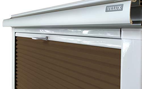 Home-Vision® Dachfenster Premium Doppelplissee Wabenplissee ohne Bohren Velux-kompatibel (Weiß-Braun für SK06 - Weiß) Zweifarbig Blickdicht Sonnenschutz, Alle Montage-Teile inklusive