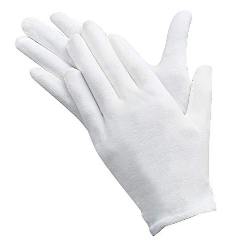 YIKEF 12 Paar Baumwolle Handschuhe Cotton Gloves ,Größe M,LBequem und Atmungsaktiv, für Hautpflege, Schmuck Untersuchen, Tägliche Arbeit usw