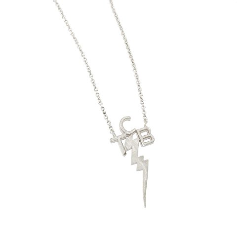 Taking Care of Business Necklace, Lightning Bolt Necklace, Minimalist Necklace, Statement Necklace, TCB Necklace, Silver Necklace BN875-2 (Silver)