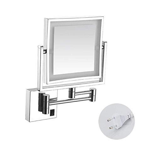 Miroir Maquillage, Miroir courtoisie Grossissant LED Fini chromé rétractable carré grossissant 3X avec grossissement avec perçage ou sans perçage