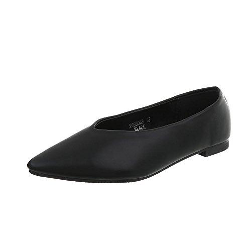 Ital-Design Klassische Ballerinas Damen-Schuhe Blockabsatz Schwarz, Gr 38, Xq55068-