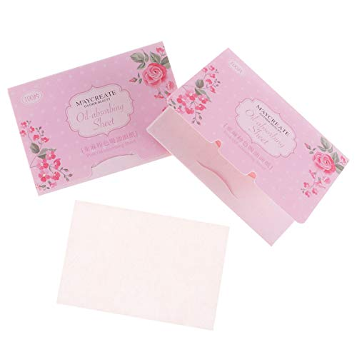 Lurrose Tissus Absorbant L'huile Face à L'huile Buvard Feuilles de Papier pour Hommes Femmes Maquillage Fournitures de Soins de La Peau 100 Pcs (Rose)