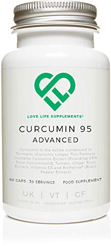 LLS Curcumin 95 Advanced (Formerly Curcumin C3 Advanced) | High Strength Curcumin (the Active Component of Turmeric) containing ONLY ACTIVE CURCUMIN with 95% Curcuminoids + BioPerine, Vitamin D3, Tomato and Ginger Root | 60 Capsules | Manufactured in the UK under BRC Certification