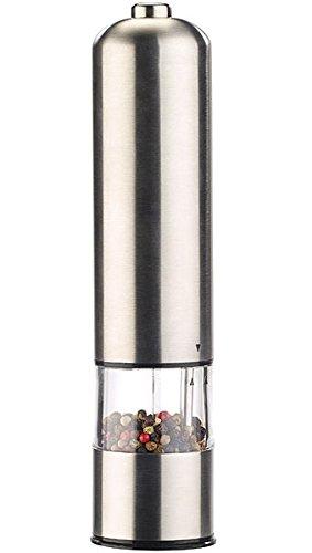 Rosenstein & Söhne Salzmühle: Elektrische Salz- / Pfeffermühle mit Keramik-Mahlwerk, Licht, 22,5 cm (Elektrische Mühle)