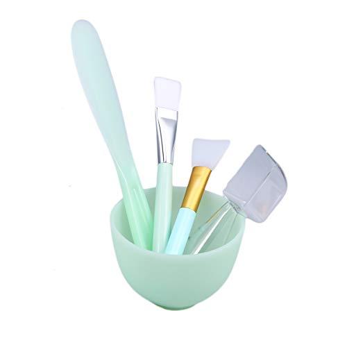 Lurrose 5pcs bricolage masque de mélange bol set silicone outil de mélange Kit avec masque facial brosse bâton spatule cuillère à mesurer masque bol (vert)