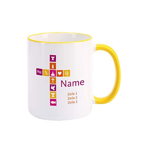 Herz & Heim® Tasse zur Kommunion/Konfirmation mit Aufdruck des Namens und Wunschtext für Mädchen