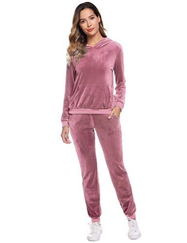 Akalnny Chándal Conjunto Mujer de Terciopelo Informal Sudadera de Manga Larga con Capucha + Pantalones de Cintura Alta Trajes Rosa