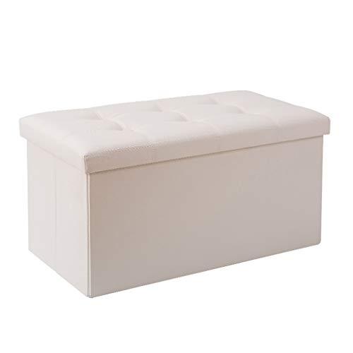 Wddwarmhome Boîte de Rangement pour Tabouret de Rangement Pliable en Pouf en PVC avec capacité de Charge maximale 150 kg - Facile à Nettoyer (Couleur : Blanc)