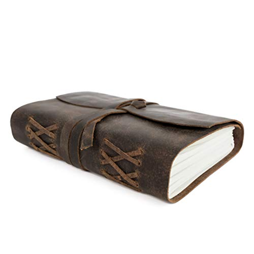 Genuine Leather Journal Notebook, Unlined 120 Pages, Handmade Leather Bound Daily Sketch Note Pad (7