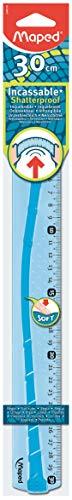 Maped Règle plate INCASSABLE avec bords anti-taches et soft anti-dérapant - Règle plate 30 cm Coloris Bleu