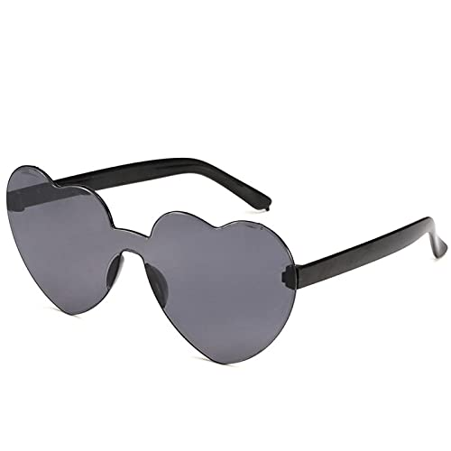 Gafas De Sol Nuevas Gafas De Sol con Lente De Corazón De Amor para Mujer, Gafas De Plástico Transparentes, Gafas De Sol De Estilo para Mujer, Color Caramelo Transparente, Señora 02Gray