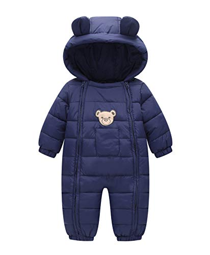 Xuvozta Cotton Romper for Toddler Boys Girls Hood Snowsuit Long Sleeve Winter Coat Navy 90