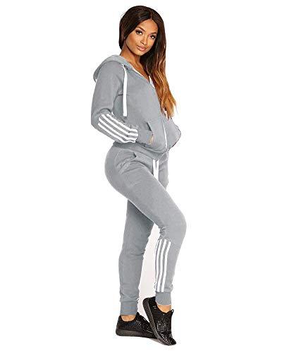 Minetom Damen Mode Streifen Trainingsanzug Frauen Lange Ärmel Zipper Top + Lange Hose Sportswear 2 Stück Set Sport Yoga Outfit GRAU 34