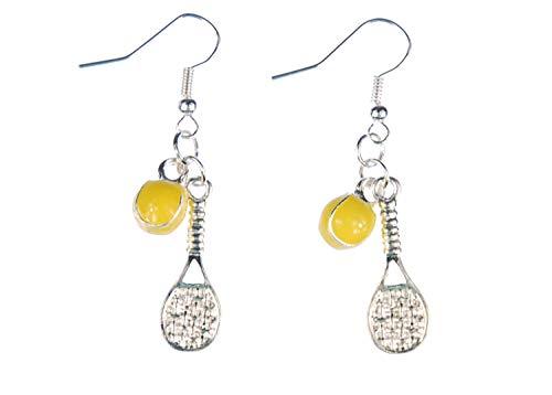 Miniblings Tennis Ohrringe Tennisschläger Ball Schläger Tennisball emailliert 2er - Handmade Modeschmuck I Ohrhänger Ohrschmuck versilbert