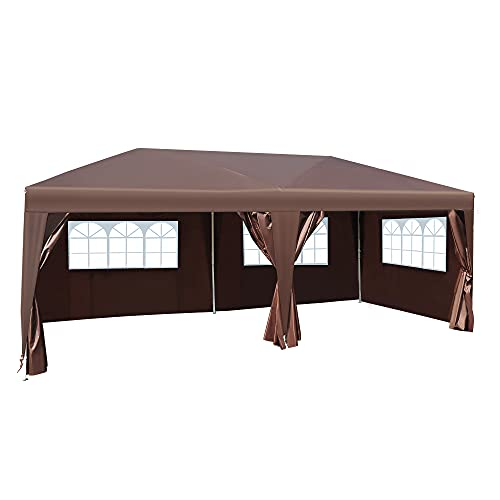 Outsunny 3 x 6m Garden Pop Up Gazebo Marquee Party Tent Wedding Water Resistant Awning Canopy With free Storage Bag Coffee