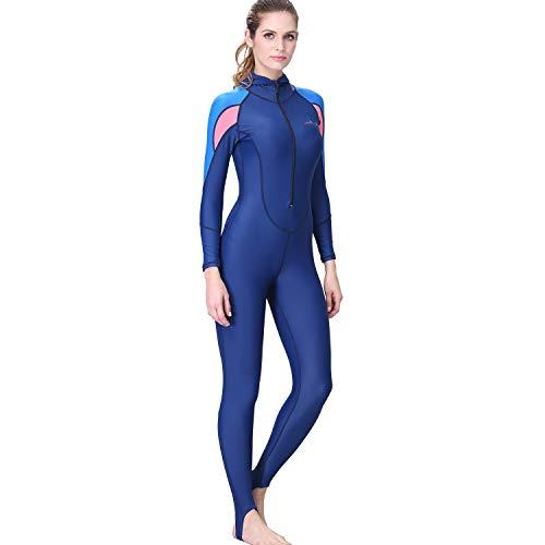AIni Damen Neoprenanzug,Sport Wetsuit Schwimmen Surfanzug Surfen Tauchen Schnorcheln Surfen Tauchen Einteiliger Ganzkörper Neoprenanzug Badeanzug (L,Blau)