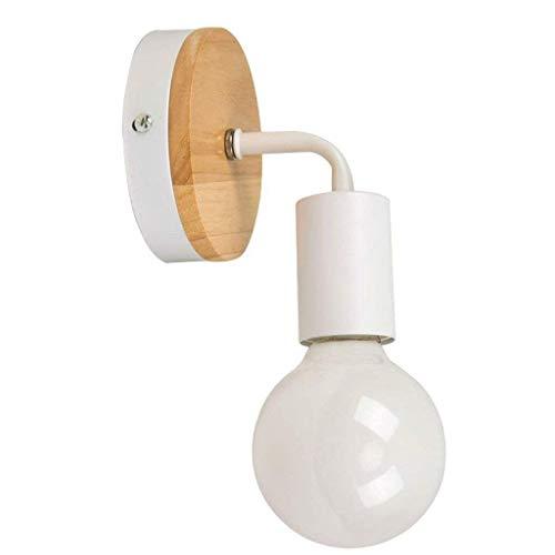 CAIMEI Lámpara de Pared de Madera Hierro Forjado Simple Blanco Y Negro Color Clásico Espejo de Baño Proyector de Pared Frontal Sala de Estar Dormitorio Lámpara de Pared