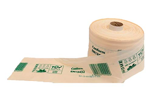 Biologisch abbaubare und kompostierbare Beutel aus Stern, 34 x 40 cm, Rolle mit 400 Taschen, zertifiziert und hergestellt in der Europäischen Union.